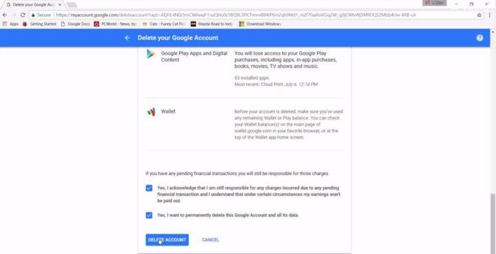 apagar conta google