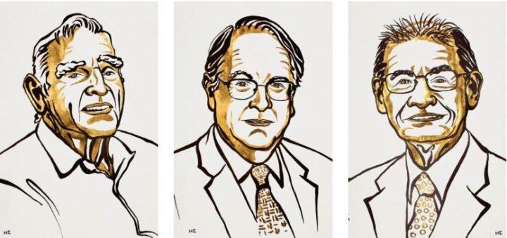 John B. Goodenough, M. Stanley Whittingham e Akira Yoshino foram os vencedores do prémio Nobel da Química em 2019 © Niklas Elmehed/Academia Real das Ciências da Suécia
